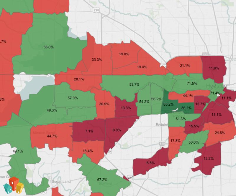 Map of pet friendly neighborhoods in Houston
