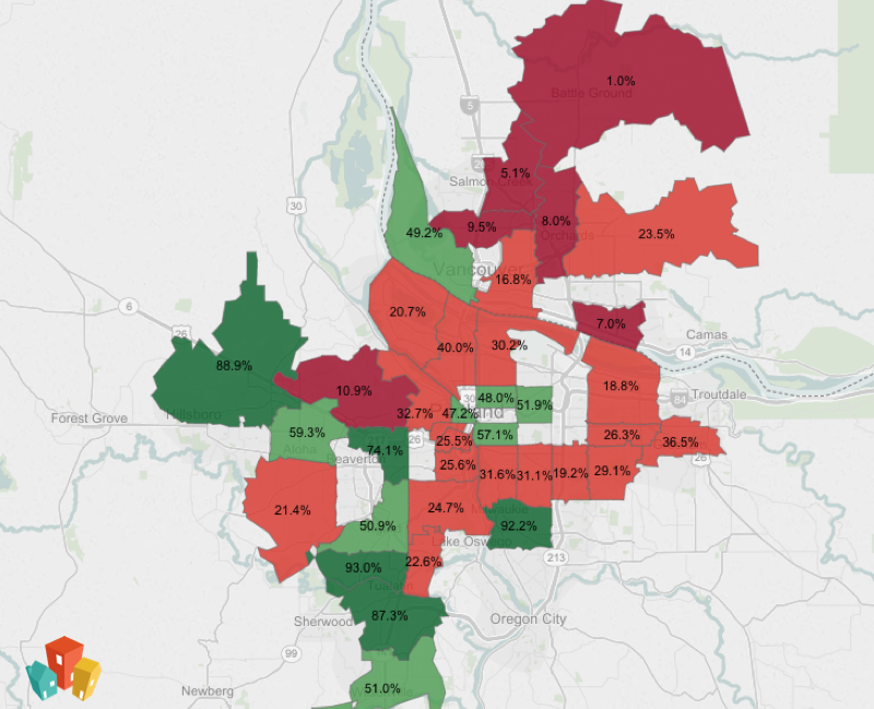 Map of pet friendly neighborhoods in Portland