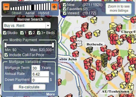 Search Buy vs. Rent Housing listings on the HotPads Map