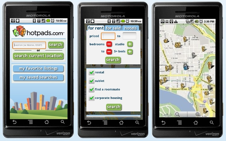 HotPads Android map search screen shots